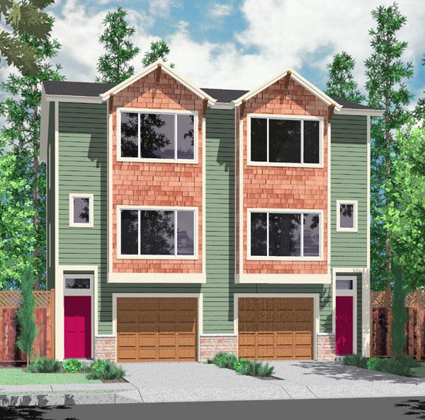 House Plans Duplex Plans Row Home